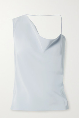 Cushnie Asymmetric Draped Silk Crepe De Chine Top - Light blue