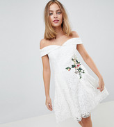 Little Mistress Petite Lace Mini Bardot Dress With Floral Embroidery