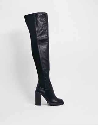 ASOS DESIGN Katherine chunky thigh high boots in black