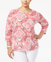 JM Collection Plus Size Printed Jacquard Top, Only at Macy's