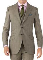 Charles Tyrwhitt Beige Slim Fit British Panama Luxury Check Suit Wool Jacket Size 38