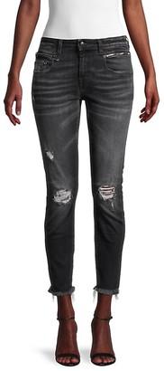 R 13 Biker Boy Cropped Skinny Jeans