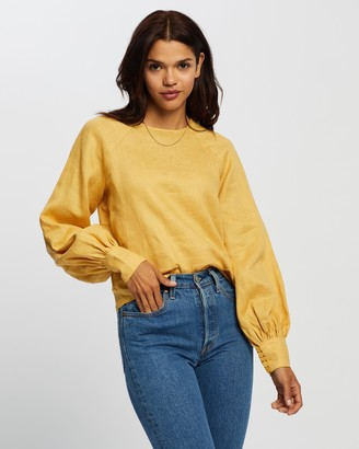 AERE - Women's Yellow Long Sleeve Tops - Blouson Linen Blouse - Size 12 at The Iconic
