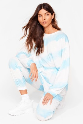 Nasty Gal Womens Time to Relax Tie Dye Joggers Lounge Set - Blue - One Size