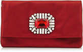 Jimmy Choo TITANIA Red Satin Clutch Bag with Jewelled Centre Piece