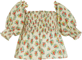 Rixo Katarina Smocked Printed Cotton-Blend Peplum Top