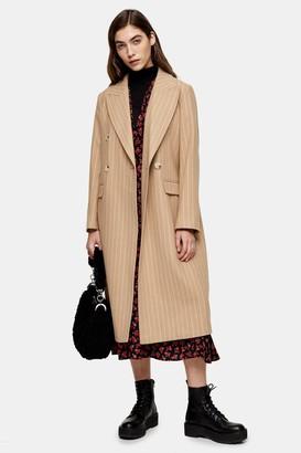 Topshop Camel Striped Coat