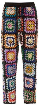 Ashish Sequinned Patchwork Crochet Trousers - Multi