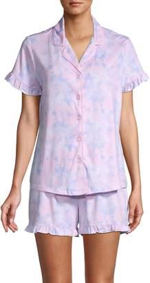 Jane & Bleecker 2-Piece Tie-Dyed Stretch-Cotton Shorty Pajama Set