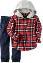 Carter's 2-Pc. Hooded Plaid Shirt & Jogger Pants Set, Baby Boys (0-24 months)