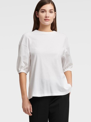 DKNY Women's Bouffant Elbow Length Sleeve Top - White - Size XX-Small