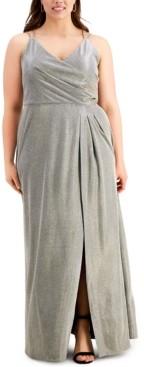 Morgan & Company Trendy Plus Size Surplice Metallic Gown