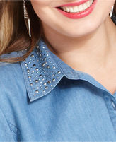 Style&Co. Plus Size Top, Three-Quarter-Sleeve Studded Chambray Shirt