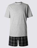 M&s Collection Pure Cotton Checked Pyjama Short Set