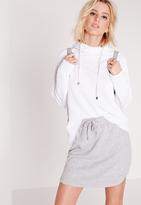 Missguided Drawstring Loopback Jersey Mini Skirt Grey