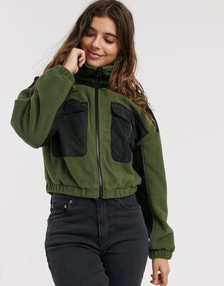 Asos DESIGN fleece panelled zip through jacket in khaki