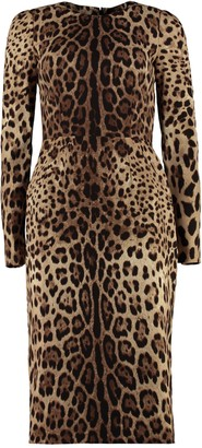 Dolce & Gabbana Leopard Print Silk Sheath-dress