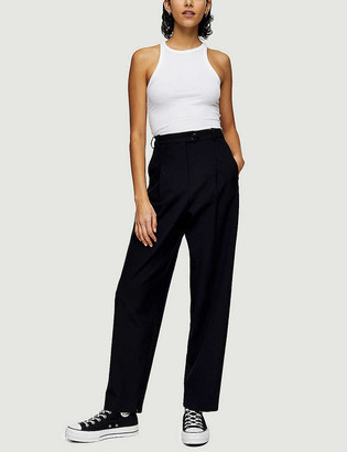 Topshop Boutique high-rise stretch-woven peg trousers