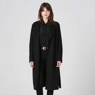 DSTLD Womens Wool Blanket Maxi Coat in Black