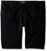 Southpole Men's Big-Tall Short Twill Shorts with Multiple Horizontal Rips and Cuffing