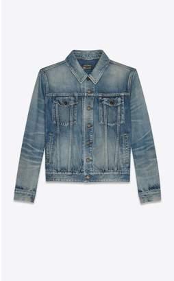 Saint Laurent Boyfriend Denim Jacket In Sandy Blue