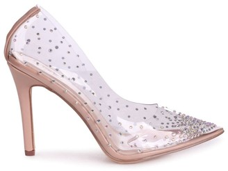 Linzi SASSY - Nude Perspex All Over Diamante Court Heel