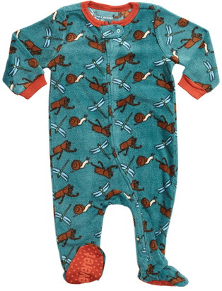 Leveret Teal Bugs Footed Fleece Pajama