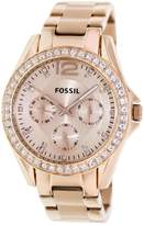 Fossil Women's 38mm Riley Multi-functional Rose Goldtone Dial Watch
