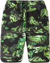 Neil Barrett Camo-leaf print swim shorts