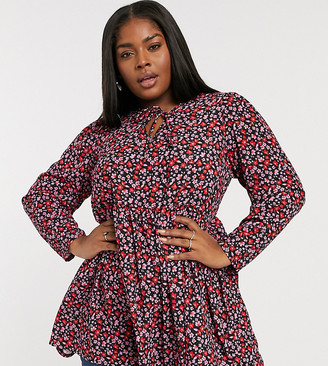 Yours ditsy floral smock blouse in pink