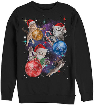 Fifth Sun Men's Sweatshirts and Hoodies BLACK - Black Christmas Space Cat Crewneck Sweatshirt - Men