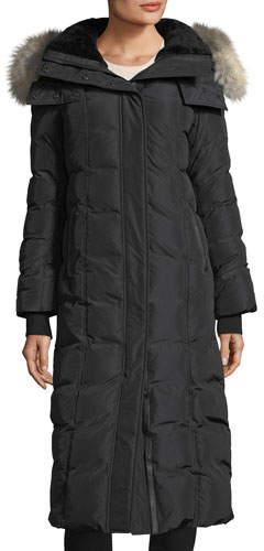 Mackage Jada Long-Sleeve Covered Placket w/ Fur Hood
