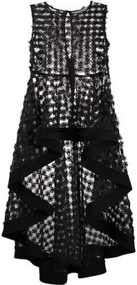 D-Exterior Embroidered Asymmetric Dress