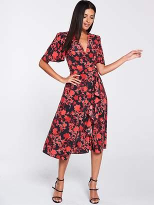 Very Vienna Wrap Frill Midi Dress - Red Floral