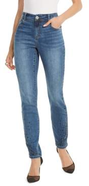 INC International Concepts Inc Petite Cascade Rhinestone Ankle Skinny Jeans, Created For Macy's