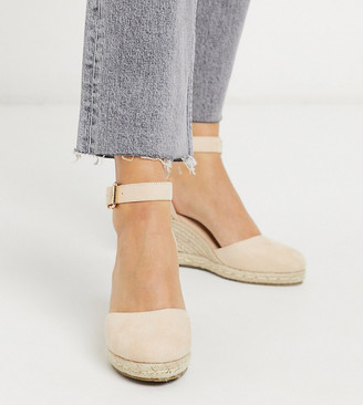 Truffle Collection wide fit heeled espadrille wedges in beige
