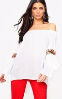 PrettyLittleThing White Soft Embroidered Applique Sleeve Bardot Top