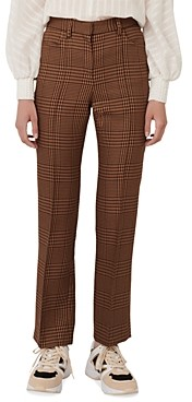 Maje Pedela Straight-Cut Plaid Pants
