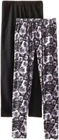 Steve Madden Legwear Women's Floral and Solid Leggings 2-Pack