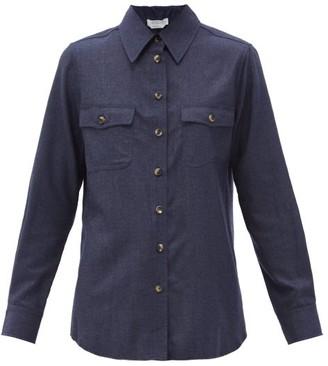 Gabriela Hearst John Austin Cashmere-twill Shirt - Dark Blue