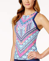 Jag Chevron-Print High-Neck Racerback Tankini Top