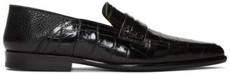 Loewe Black Croc Pointy Slip-On Loafers