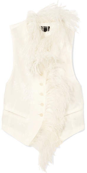 Ann Demeulemeester Feather-trimmed Floral-jacquard Vest - Off-white