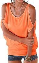 Manzocha Women Batwing Sleeve Blouse off Shoulder T Shirts Loose Casual Tops 2XL