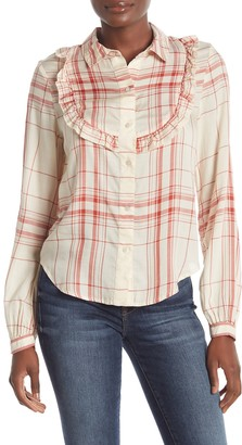 Frame Plaid Ruffled Bib Shirt