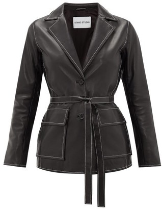 Stand Studio Ariana Belted Topstitched-leather Jacket - Black