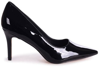 Linzi FAIRGROUND - Black Patent Classic Pointed Court Shoe with Stiletto Heel