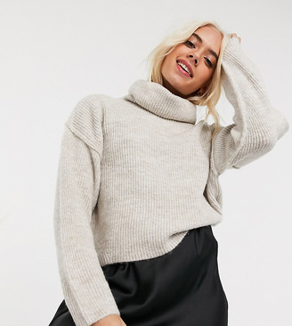 ASOS DESIGN Petite fluffy jumper with cowl neck