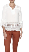 Tcec Cream Lace Trim Blouse