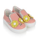 Fendi FendiGirls Pink Piro-Chan Leather Slip On Shoes